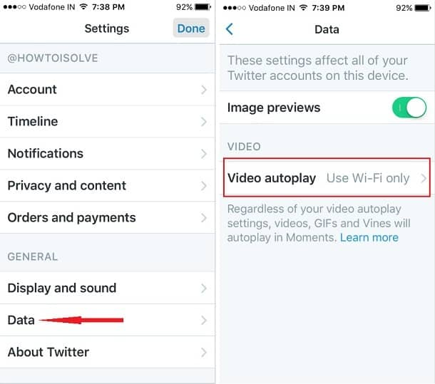 Video autoplay option twitter iPhone iOS 9