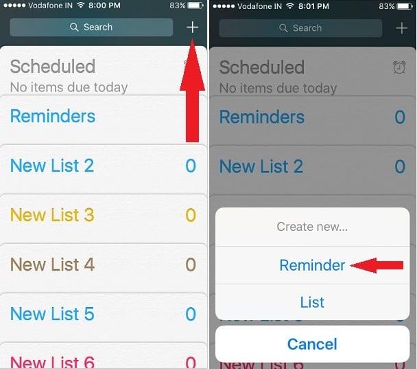 use Reminders App on iPhone, iPad: iOS 9