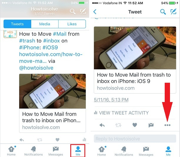Pin to your Profile iPhone, iPad Twitter app