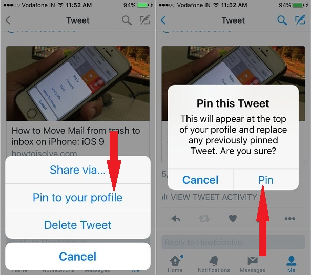 select Pin to Tweet on iPhone Twitter App