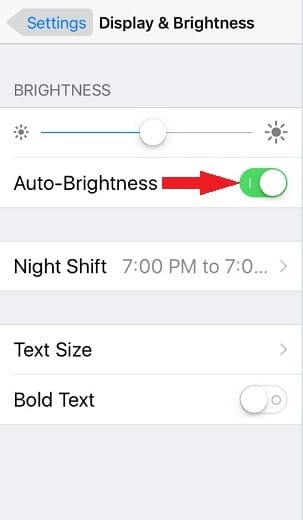 Adjust Brightness to increase Battery Life