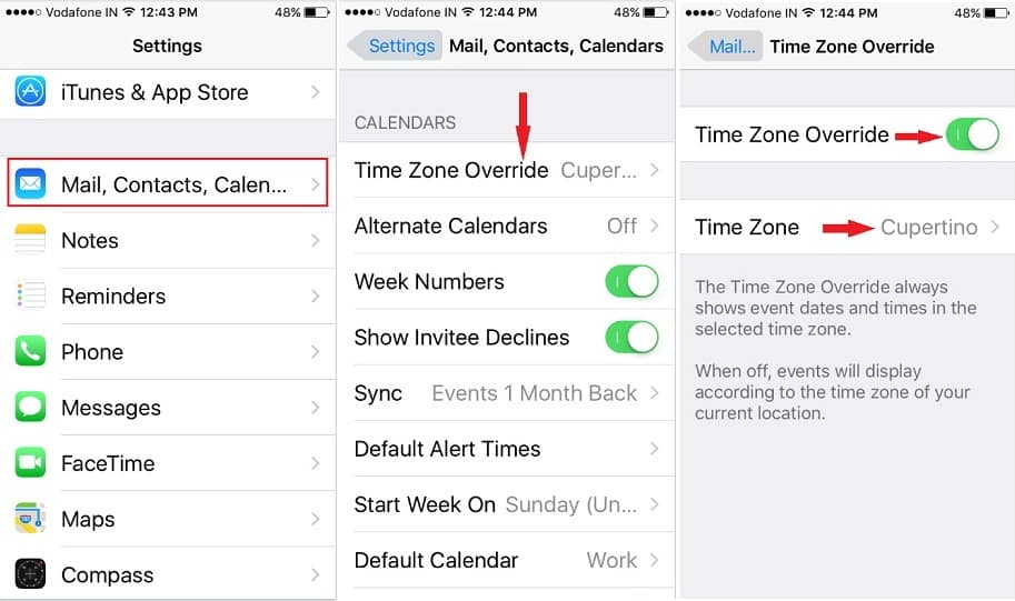 Adjust Correct Time Zone on iPhone calendar iOS9
