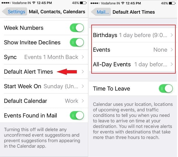 Change iPhone Calendar Default Alert Time