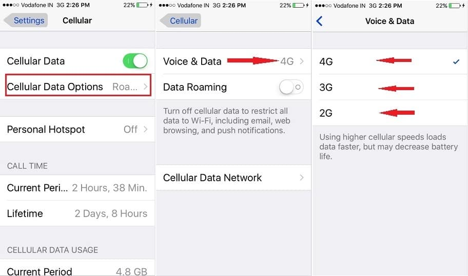 how to switch cellular data on iPhone, iPad Air, iPad Pro