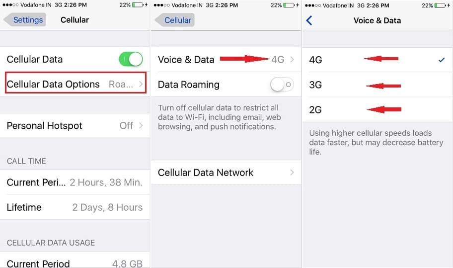 как переключать сотовые данные на iPhone, iPad Air, iPad Pro