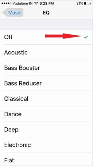 EQ settings on iPhone iOS 9