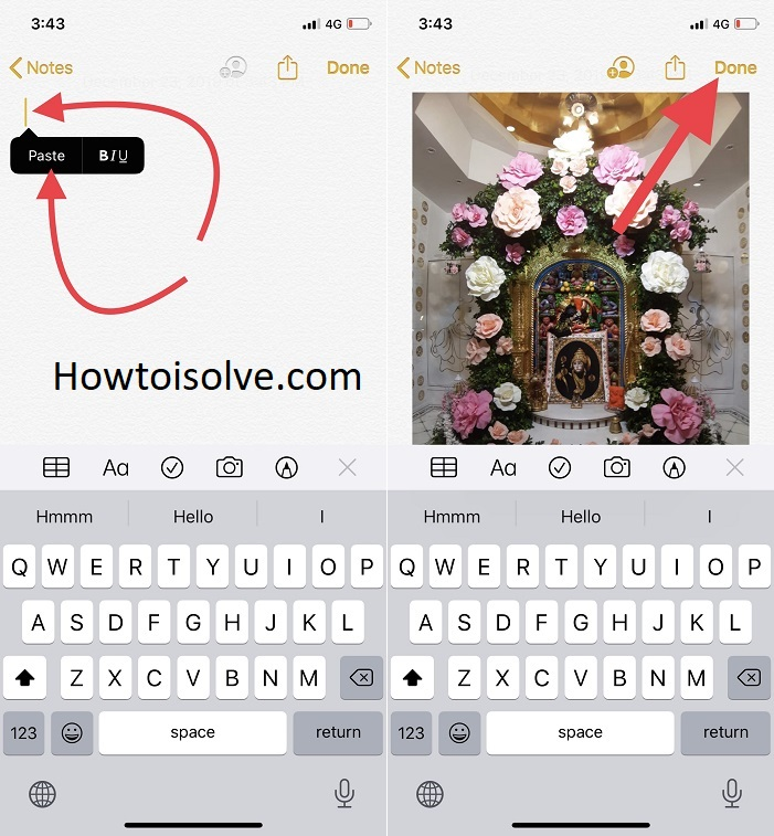 tap on blank area and tap paste to store contact picture and tap done to save note