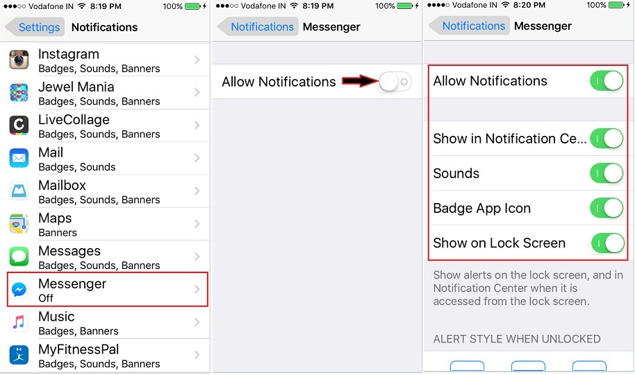 Enable FaceBook messenger Notification on iPhone