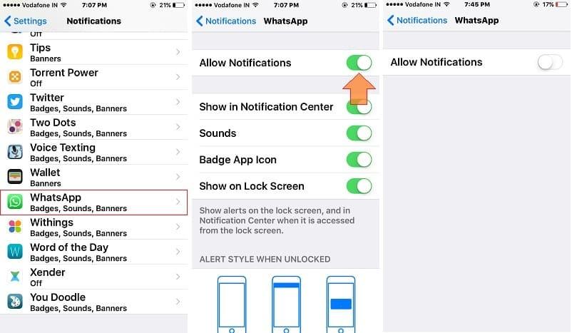 Turn off WhatsApp Message notification on iPhone/ iPad