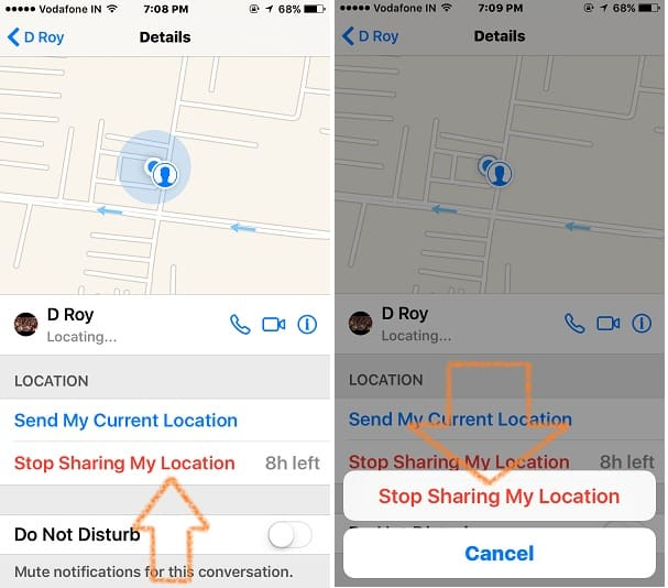 Stop request for track location service