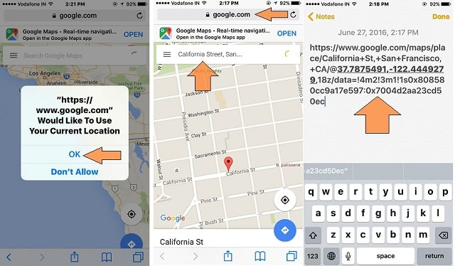 Find Coordination on Google Map through iOS browser