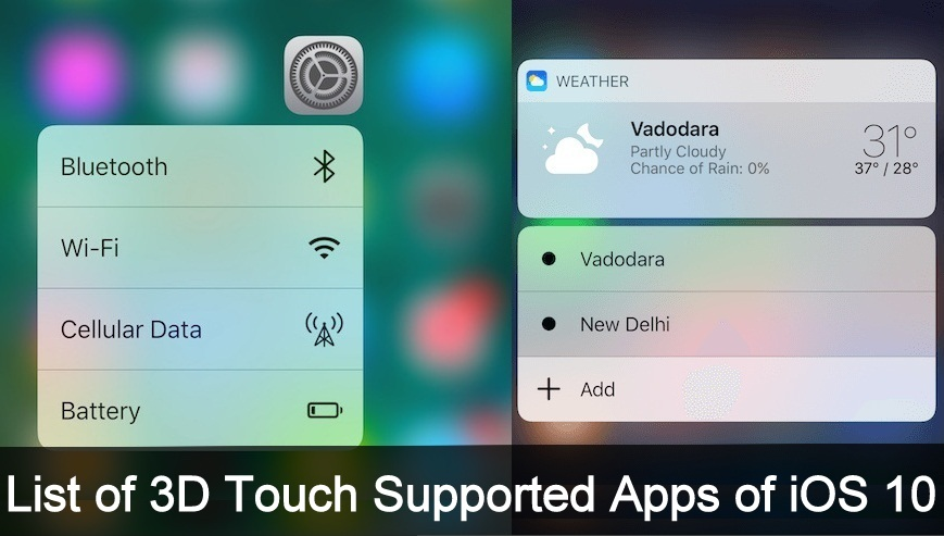 List of 3D Touch Supported iOS 10 Apps