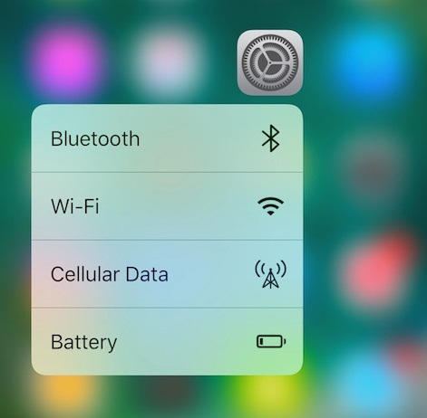 3D touch Settings App with cellular data