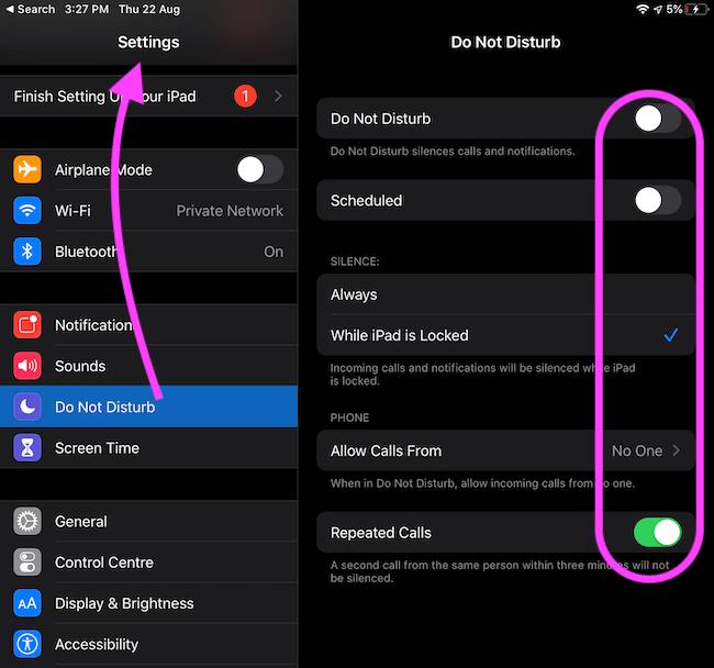Disable Do Not Disturb on iPad