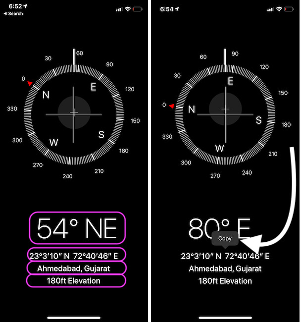 Coordinates, Location, Elevation from your iPhone Compass app
