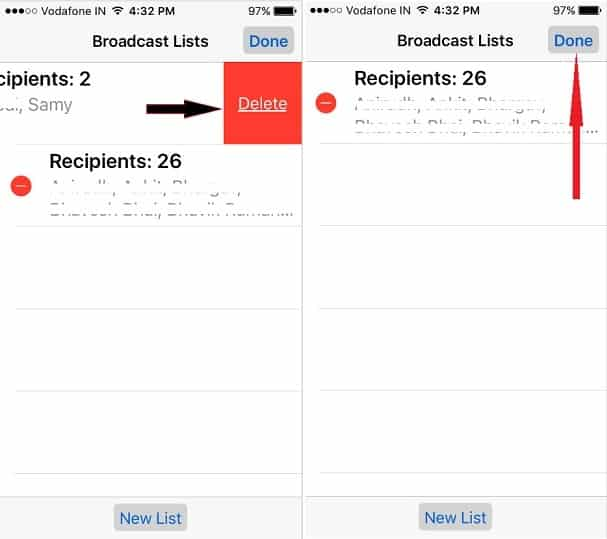 broadcast lists screen of iPhone Whatsapp