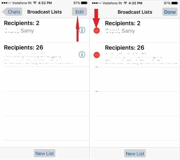 delete entire broadcast lists from Whatsapp iPhone app
