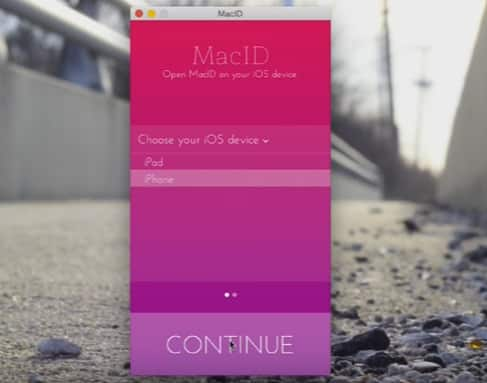 first screen of MacID on Mac