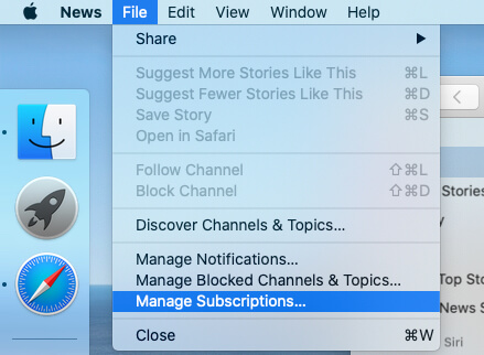 Manage News App Subscription on Mac