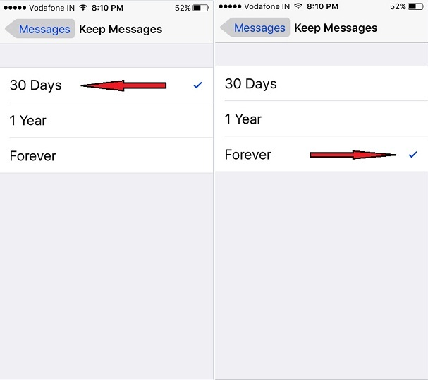disable auto delete message history on iPhone