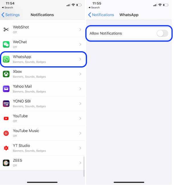 Turn off WhatsApp Notifications Toggle from iPhone settings