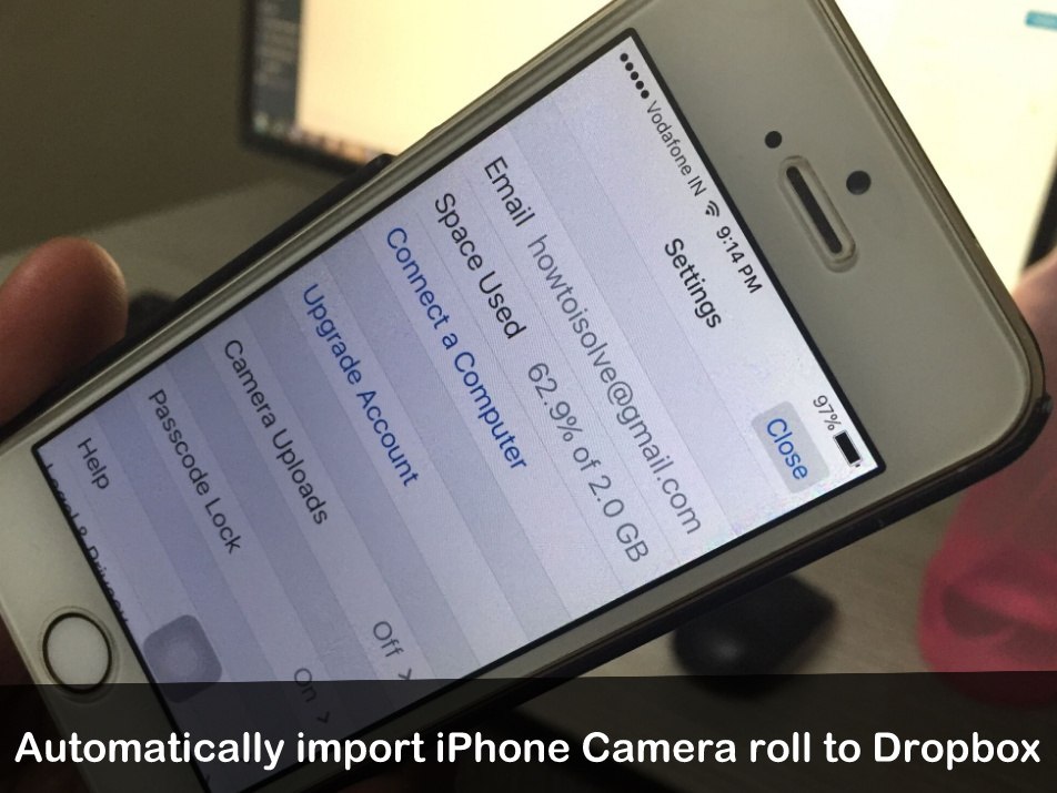 how to import iPhone Camera roll to Dropbox