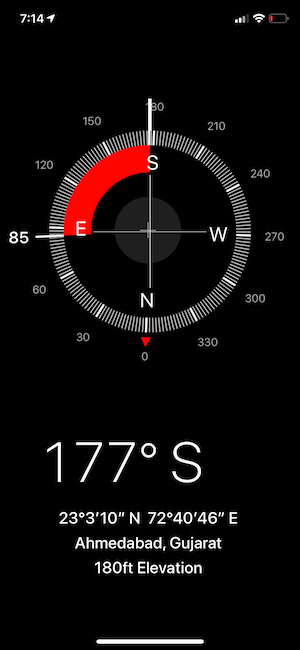 lock your current direction on iPhone Compass app
