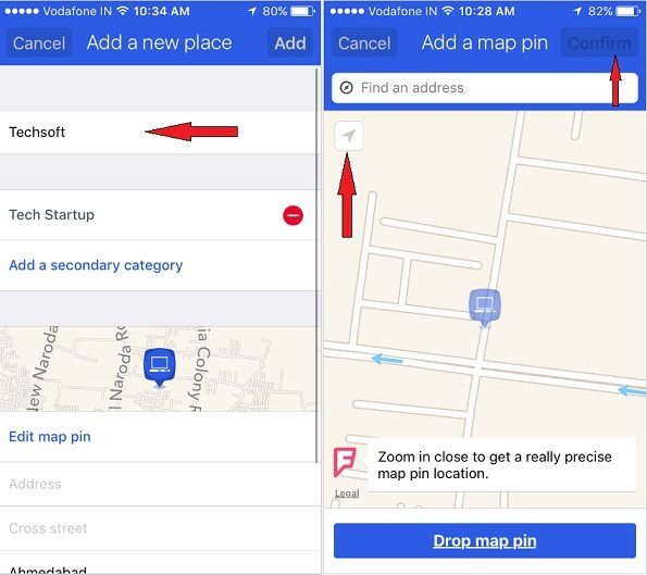 tap on Add a map Pin