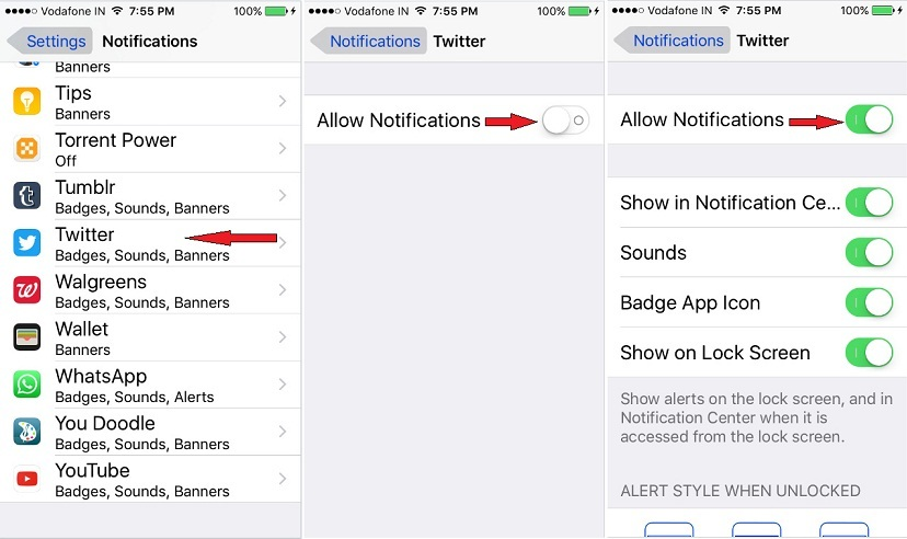 Turn Allow Notifications twitter on iPhone 6s