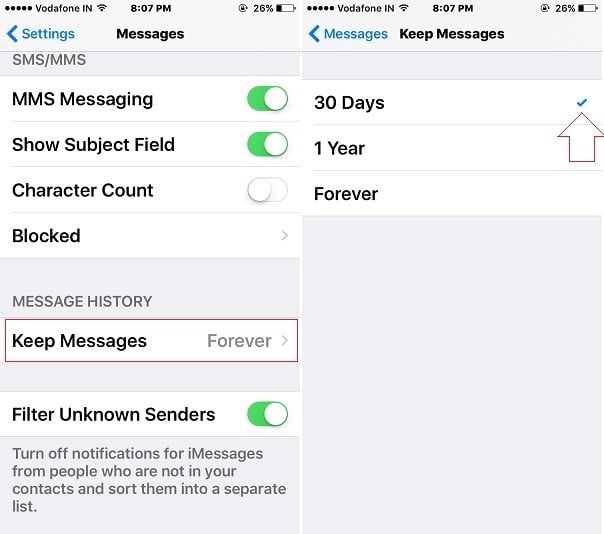 Auto Delete old whatsApp message on iPhone