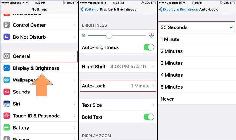 Enable/ Disable or Change auto lock time interval in iOS 10 from iPhone/ iPad