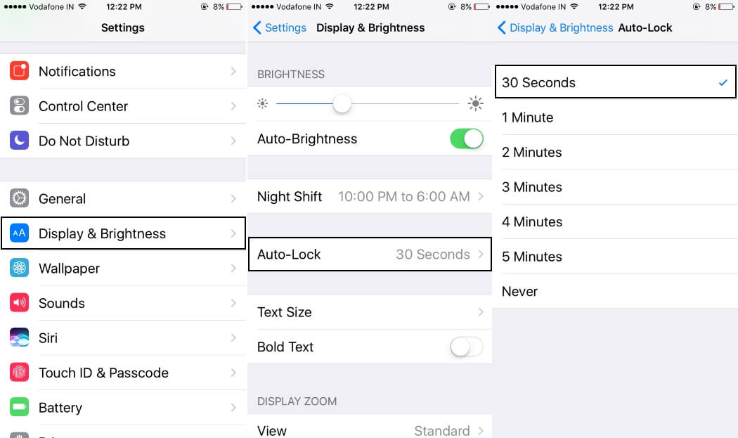 iphone auto lock turn on or change auto lock screen time on iphone 8 6469