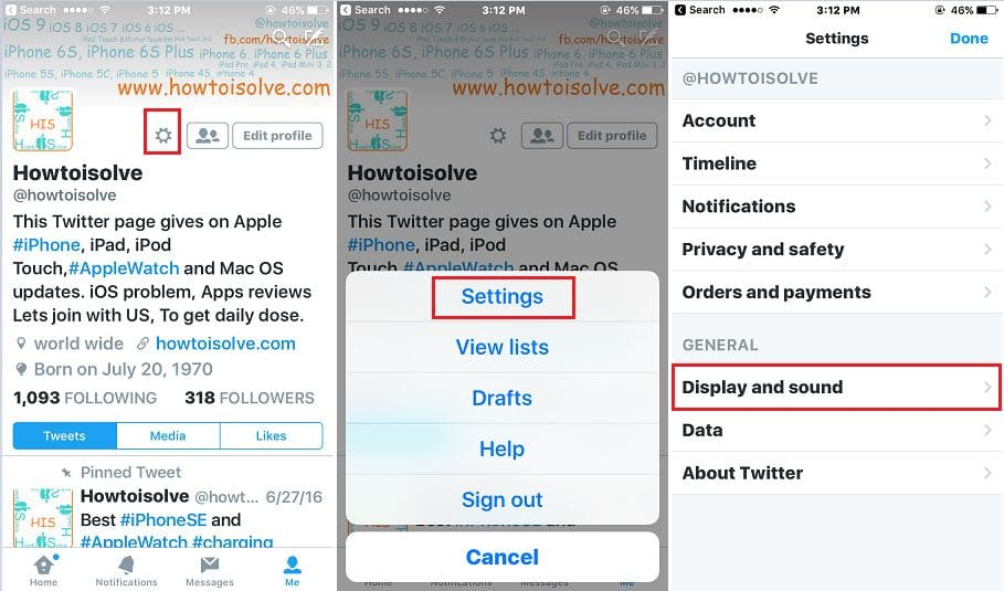 Change text size on Twitter app from iPhone/ ipad