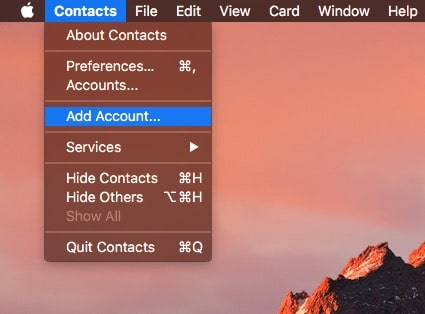 Setup contacts app or add new account