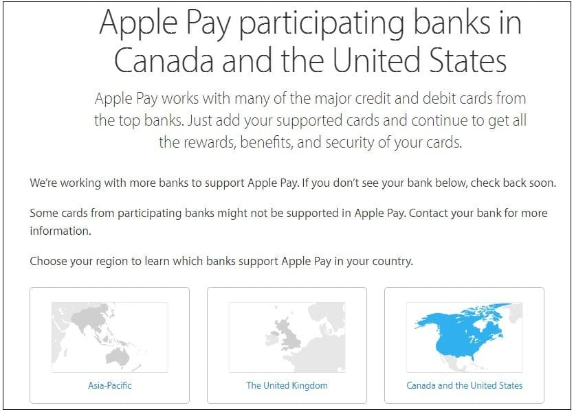 Apple pay supported Counry wise bank list