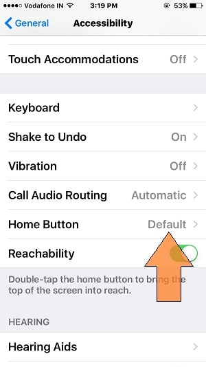 Home Button Settings for iPhone