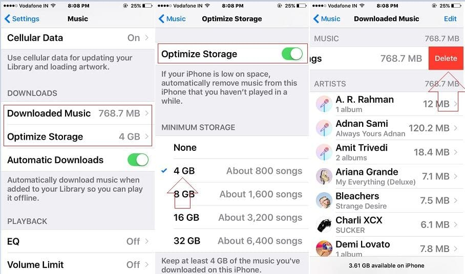 Apple music storage optimize in iOS 10