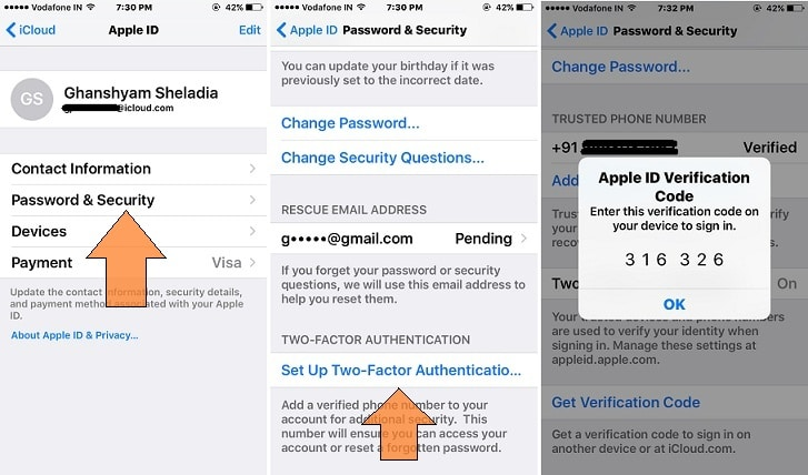 Setup Two step verification on iPhone