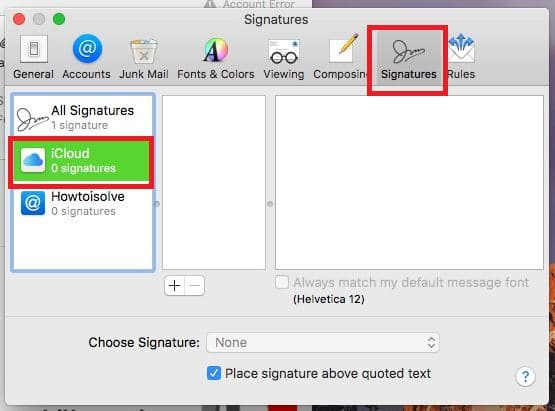 Signature Option in Mail app