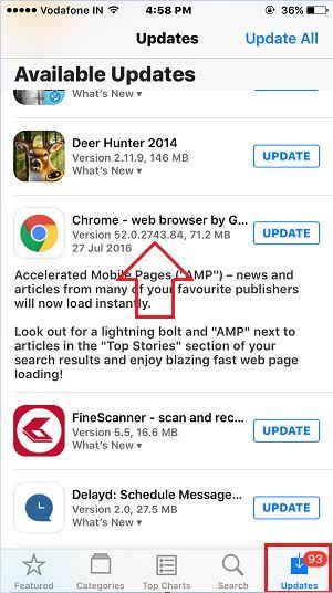 New app version in iPhone using app store