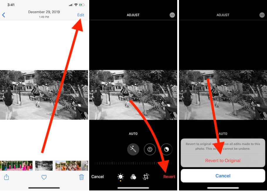 Вернуться к исходной фотографии в приложении для фотографий iPhone