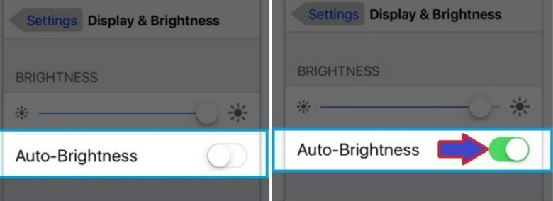 Turned on Auto-brightness