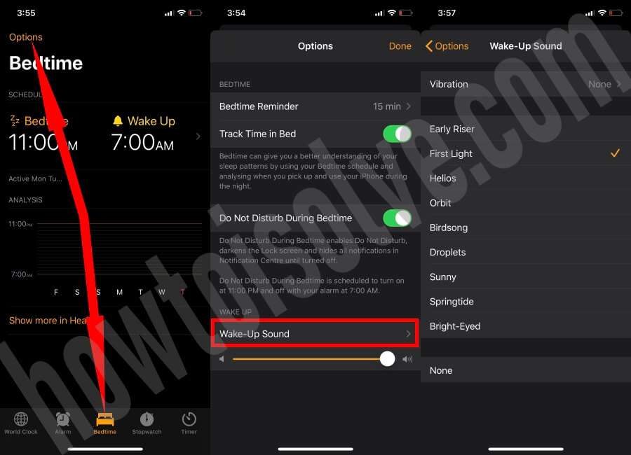 Change Wake-Up Sound of Bedtime Alarm on iPhone