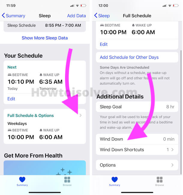 Change Wind Down Reminder on iPhone For Bedtime in Sleep app