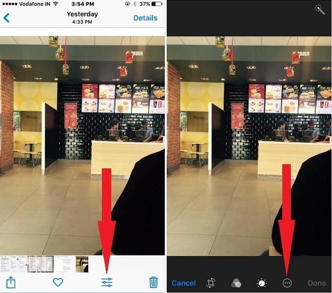 использовать разметку в качестве редактора фотографий в iOS 10