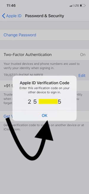 Get Verification code for apple iD on iPhone