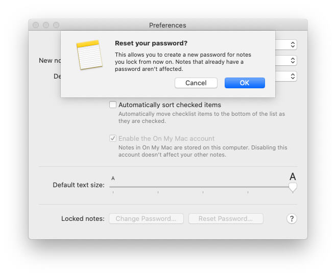 Reset Password for note fron now and it's not affect old note on Mac
