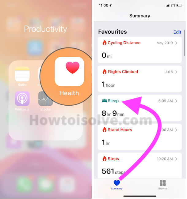 Sleep Analysis in Health App on iPhone