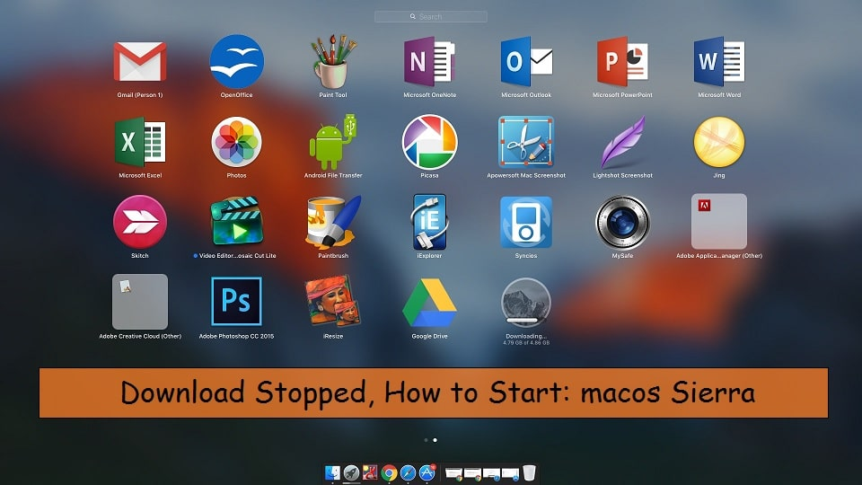 macos Sierra download stopped how to start again