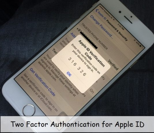 Two Step authentication message on iPhone screen